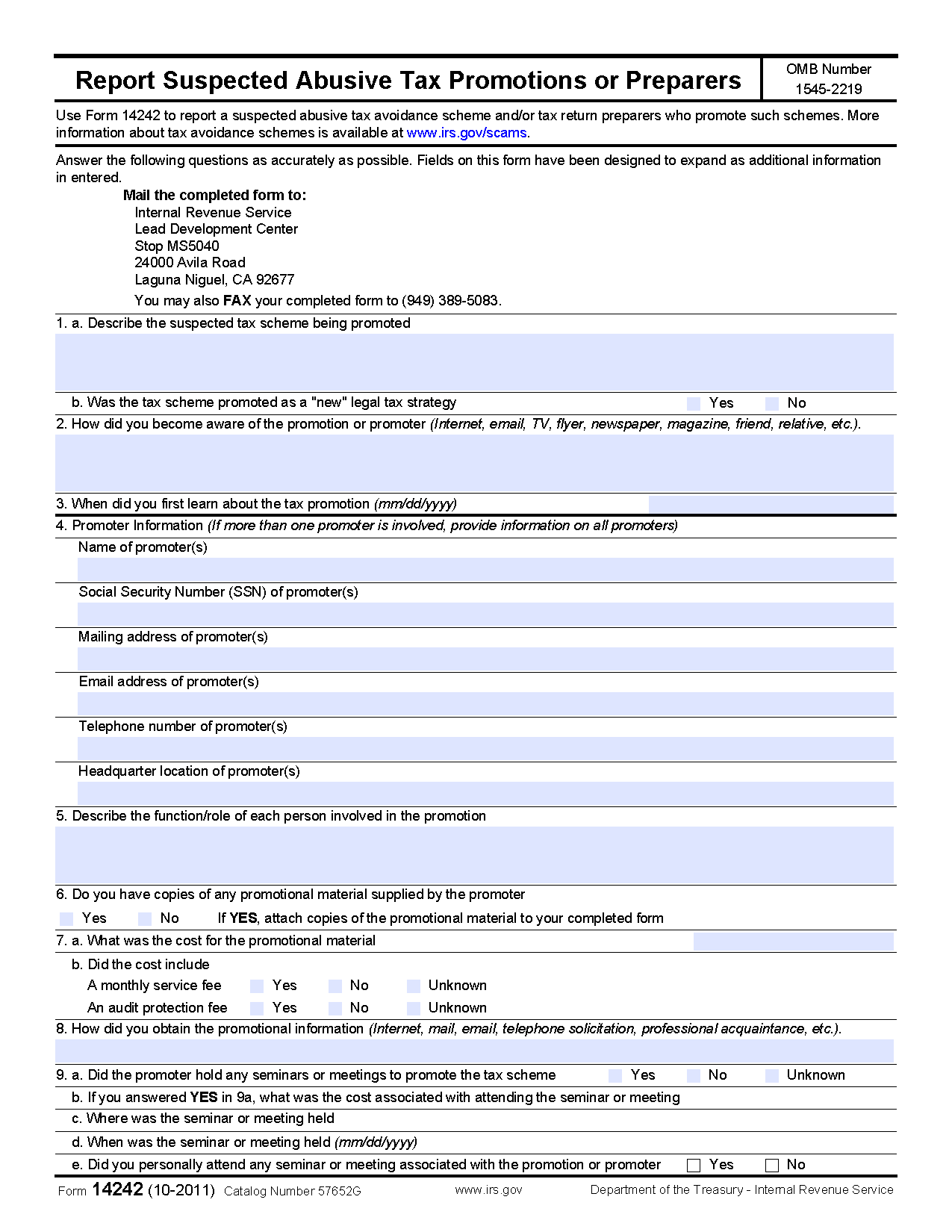 Form 14242 reporting abusive tax promotions andor promoters view all 2011 irs tax forms falaconquin