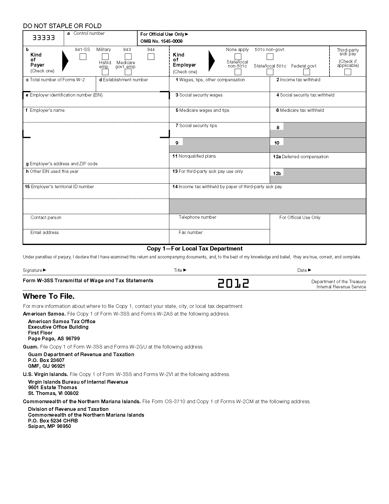 Form w 3ss transmittal of wage and tax statements info copy only view all 2011 irs tax forms falaconquin